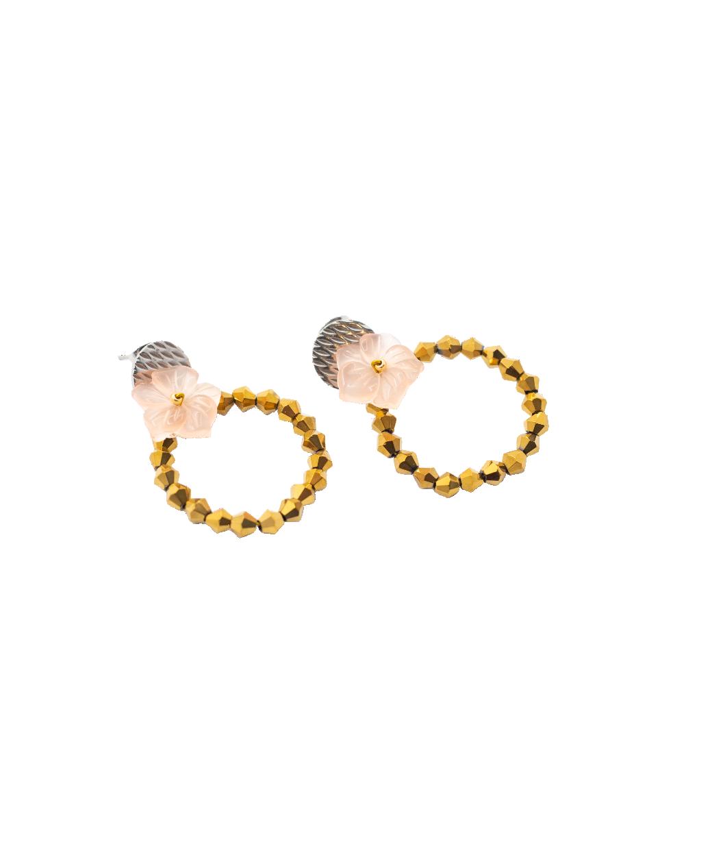 Cercei cu cristale aurii